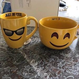 Smiley face cup & bowl set